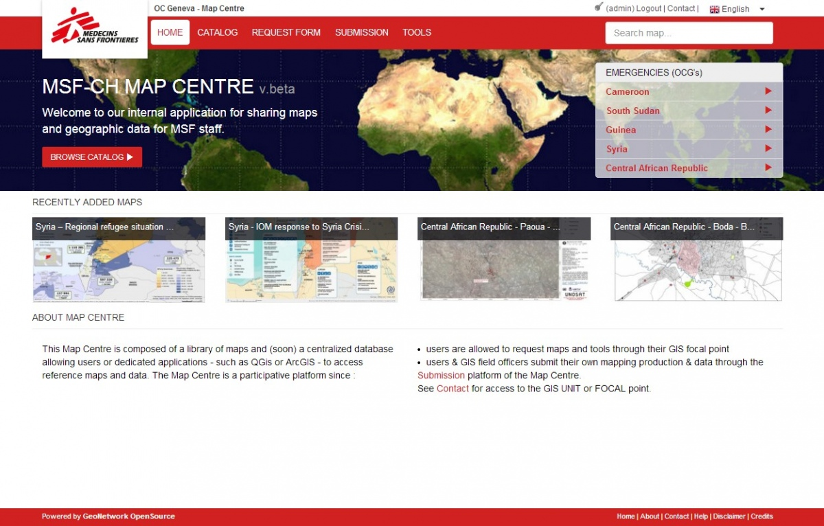 Screenshot Map Centre